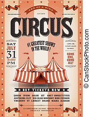 årgång, grunge, randig, cirkus, affisch