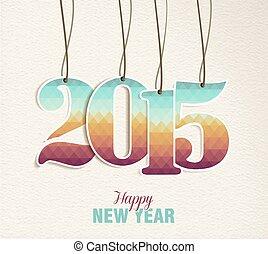 årgång, hänga, etikett, år, 2015, färsk, kort, lycklig