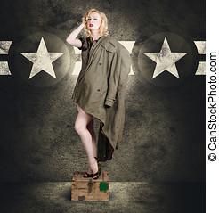 årgång, här, utvikningsbrud, kvinna, in, militär, mode