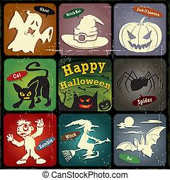 årgång, halloween, etikett, design