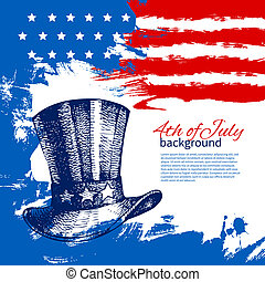 årgång, hand, amerikan, 4, design, bakgrund, flag., oavgjord...