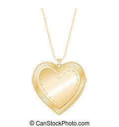 årgång, hjärta, medaljong, kedja, halsband
