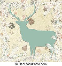 årgång, hjort, eps, template., 8, julkort
