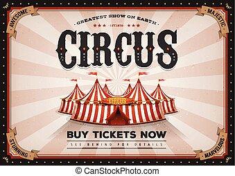 årgång, horisontal, cirkus, affisch