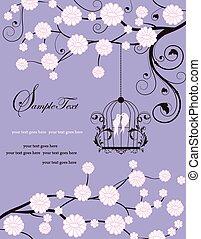 årgång, inbjudan, kort, med, utsirad, elegant, retro, abstrakt, blommig, träd, design