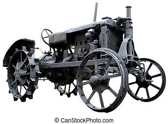 årgång, isolerat, föråldrad, rostig, bakgrund, vit, traktor