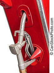 årgång, isolerat, pump, drivmedel, vit röd