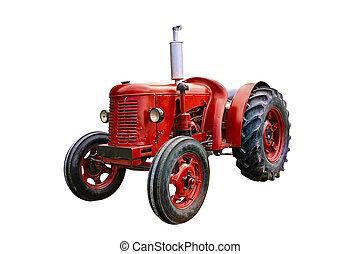 årgång, isolerat, traktor, bakgrund., vit röd