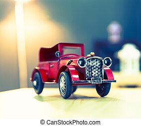 årgång, ivrig, röd, oldtimer, bil