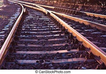 årgång, järnväg, gammal, foto