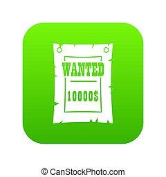 årgång, jag ville poster, ikon, digital, grön