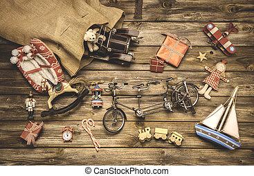årgång, jul, decoration:, gammal, nostalgisk, barn, toys, på, uppvakta