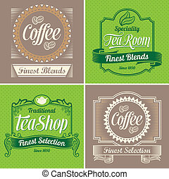 årgång, kaffe, etiketter, te