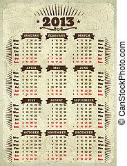 årgång, kalender, 2013, designa