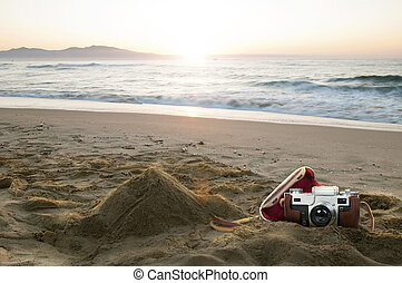 årgång kamera, strand
