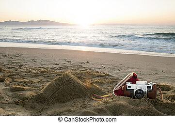 årgång kamera, stranden