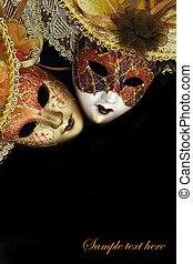 årgång, karneval, masker, på, svart fond, med, copy-space