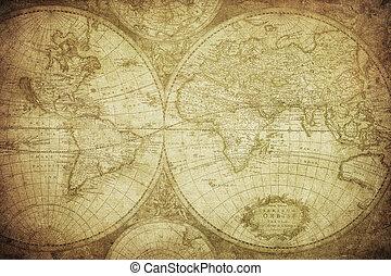 årgång, karta, av, världen, 1675