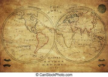 årgång, karta, av, världen, 1833