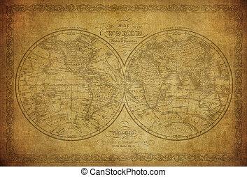 årgång, karta, av, världen, 1856