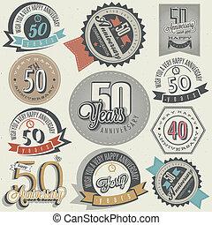 årgång, kollektion, årsdag, 50