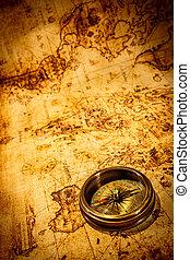 årgång, kompass, lögner, på, en, forntida, värld, map.