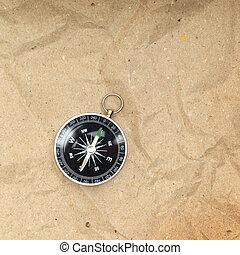 årgång, kompass, på, den, papper