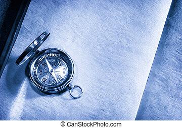 årgång, kompass, på, tom, papper