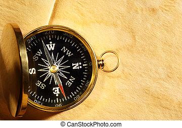 årgång, kompass, på, tom, yellowed, papper