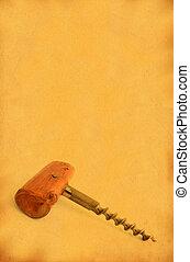 årgång, korkskruv, mot, fläckat, gammal, papper, #2