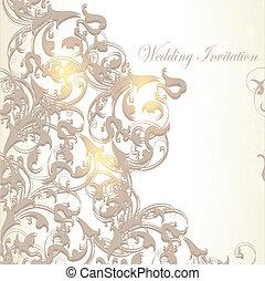 årgång, kort, inbjudan, bröllop