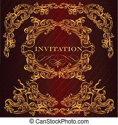 årgång, kort, inbjudan, elegant