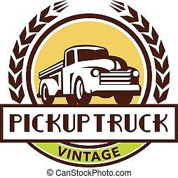 årgång, krans, uppe, lastbil, retro, hacka, cirkel