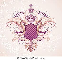 årgång, krona, skydda, illustration, &