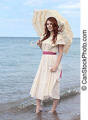 årgång, kvinna, parasoll, kust