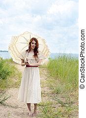 årgång, kvinna, parasoll, ocean