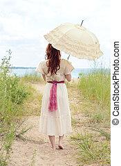 årgång, kvinna, strand, parasoll