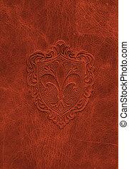 årgång, läder, struktur, med, den, fleur-de-lis, symbol