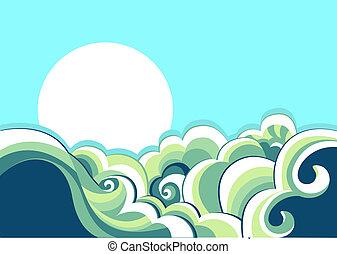 årgång, landskap, hav, waves., illustration