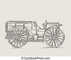 årgång, lastbil, skiss