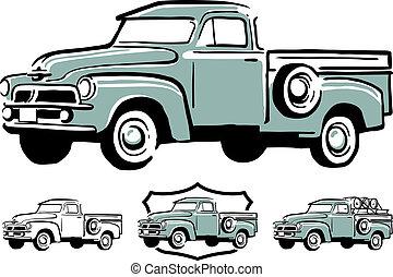 årgång, lastbil, uppe, hacka