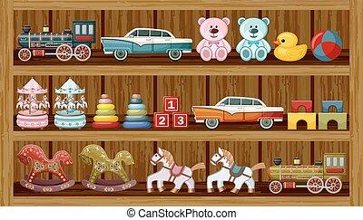 årgång leksak, på, den, shelf., vektor