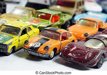 årgång, litet, leksak bilar