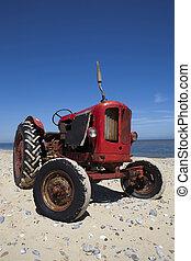 årgång, litet, strand, röd traktor