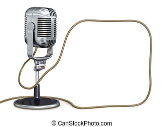 årgång, mikrofon, med, plats, för, din, text