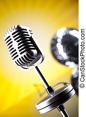 årgång, mikrofon, musik, genomdränktt, begrepp