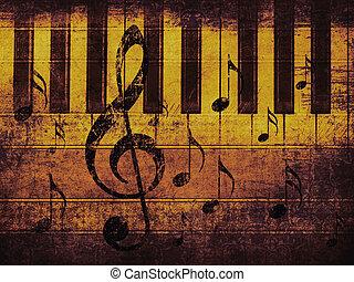 årgång, musikalisk, bakgrund, med, piano