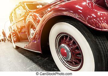 årgång, närbild, röd bil