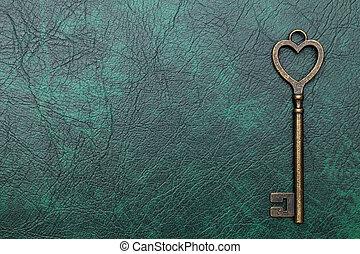 årgång, nyckel, hjärta gestalta