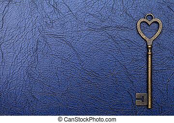 årgång, nyckel, på, a, läder, bakgrund